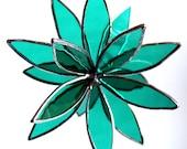 Stained Glass 3D flower - Suncatcher -  In Full Bloom Teal Flower