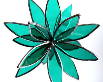 Stained Glass 3D flower - Suncatcher -  In Full Bloom Teal Flower