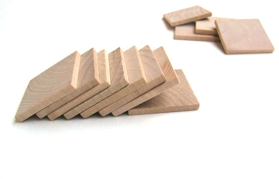 "100 - 1 1/4"" Unfinished Wooden Squares - 1 1/4 Inch (32 mm) - Wood Tiles for Crafting"