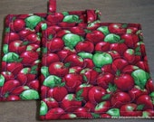 Quilted Pot Holders or Hot Pads Bushel of Apples Set of 2