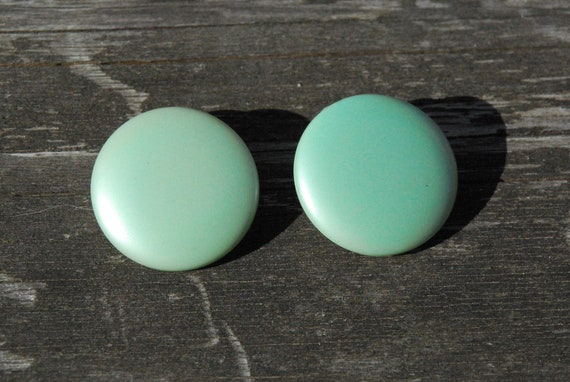 Pearlescent Light Green - Mint Green Button Clip On Earrings - Free Shipping
