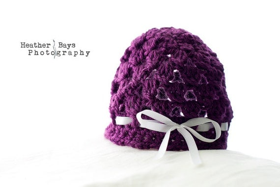 Baby Hat. Crocheted Bonnet Vintage Style for Newborn to 3 Months. Purple with a White Bow.