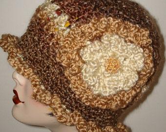 Stunning 1920's Vintage Style Hand Crochet Ruffle Trimmed Cloche Flapper Hat/Cloche Hat/Barley, Cream & Beige/Clearance/Women's Accessories