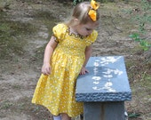Handmade Dress with Shirring in Yellow and Black with Bees in size 5, 6, 7, or 8