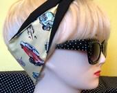 50s Hot Rod Car Fabric Hair Tie Head Scarf by Dolly Cool Cadillac Pontiac Rockabilly