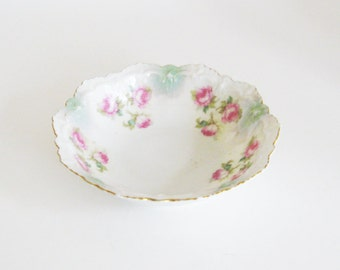 Vintage Pink Rose Bowl - Shabby Chic Austria China Serving Dish - Cottage Kitchen