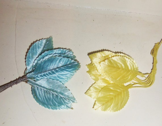 Vintage Satin Millinery Flower Rose Leaves LOT of 40 Hat Making Supplies YELLOW BLUE