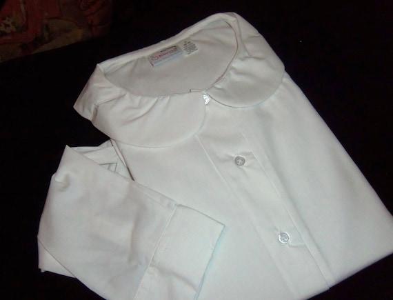 Vintage Peter Pan Collared Blouse Shirt Top white Plus size 2XL Big Shirt Aplus