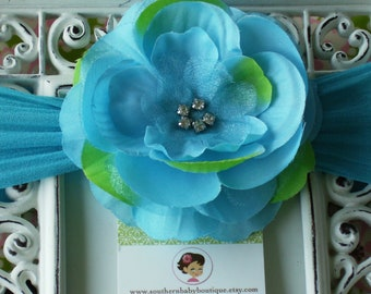 NEW ITEM----Boutique Baby Girl NYLON Headband with Rhinestone Rose Flower------Turquoise and Lime-------Bella Collection