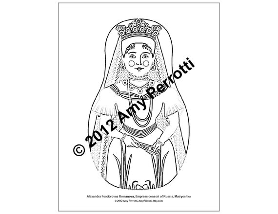 Alexandra Feodorovna Romanova, Matryoshka Coloring Sheet Printable file