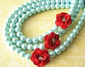 Bib Statement Necklace Flower Necklace Red and Turquoise Necklace Aqua Bridesmaid Jewelry Triple Strand Gift Beadwork