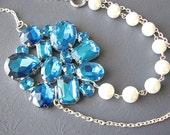 Bridal Statement Necklace Wedding Jewelry Pearl Bridesmaid Necklace Teal Jewelry Bridal Jewelry
