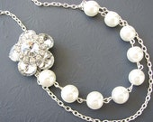 Bridal Necklace Wedding Jewelry Flower Necklace Bridal Jewelry Bridesmaid Pearl Necklace Elegant Maid of Honor Gift Set