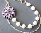 Bridal Jewelry Purple Statement Necklace Vintage Wedding Jewelry Flower Necklace Pearl Bridal Necklace