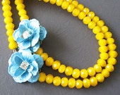 Flower Necklace Bridesmaid Jewelry Yellow Necklace Turquoise Jewelry Double Strand Beaded Necklace Bib