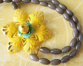 Statement Necklace Grey Jewelry Flower Necklace Yellow Jewelry Bib Necklace Beaded Jewelry