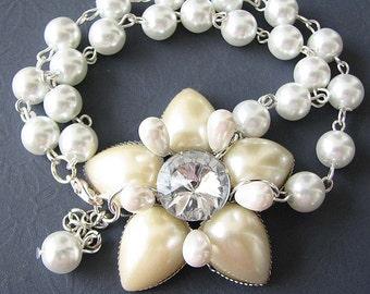 Wedding Jewelry Bridal Bracelet Bridal Jewelry Flower Bracelet Pearl Bracelet Bridesmaid Gift Set Wedding Bracelet
