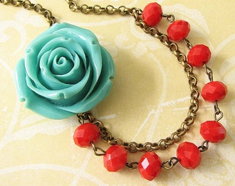 Statement Necklace Turquoise Jewelry Flower Necklace Red Necklace Beaded Necklace