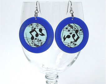 Blue Poker Chip Earrings with Sheet Music and Musical Notes