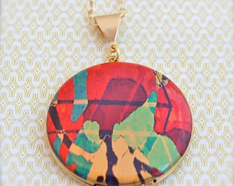 "Vintage Locket Necklace Alyson Fox Original Artwork ""Aerial"""