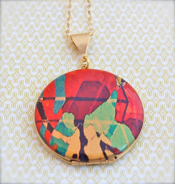 """Vintage Locket Necklace Alyson Fox Original Artwork """"Aerial"""""""