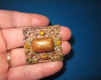 Vintage 1920s Art Deco Amber Rhinestone Brooch with Faux Goldstone