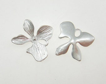 10 - Matte Rhodium Orchid flower four petal connector charm,  pendant  - Medium - Lead free, Nickel free