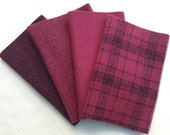 "Hand Dyed Wool Felt, CRANBERRY, Four 6.5"" x 16"" pieces in Rich, Wine Reds"