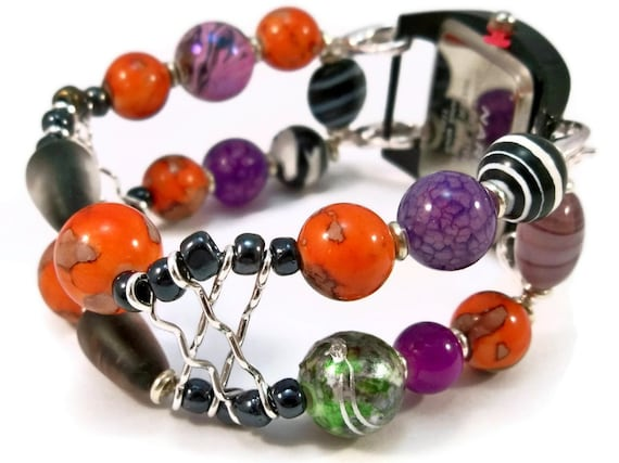 Halloween Watch Black and Orange Halloween Beads Interchangeable Watch Band Ladies Halloween Watch