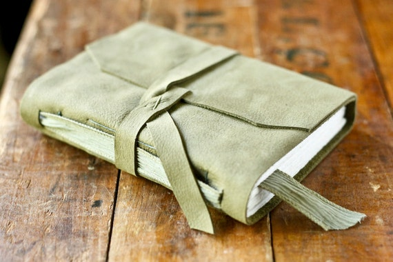 Green Leather Journal with Silk Ribbon Bookmark