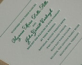 Wedding Invitation in Forest Green, Letterpress wedding invitations, Green Letterpress Wedding Invites