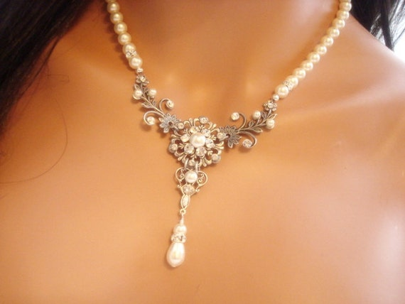 Crystal Bridal necklace, Pearl Wedding necklace, Bridal jewelry, Vintage style necklace, Antique silver, Swarovski crystal necklace