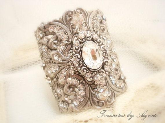 Cuff bracelet, Wedding bracelet, Wedding jewelry, Antique silver bracelet, Vintage style bracelet, Swarovski bracelet, Bridal bracelet
