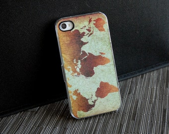 Phone Case, iPhone Case, Classic World Map Custom 4 or 4s iPhone Case, iPhone 4, 4s, 5, 5s, 6, 6s, 6 Plus, 6s Plus Case, Galaxy S5, S6 Case