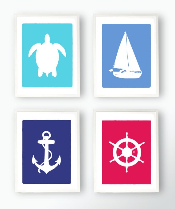 SALE Set of 4 Nautical Prints - Boat/Ship Captains Wheel Anchor and Sea Turtle Silhouettes Art Childs Room Custom 8x10