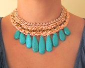Salmone Sateen and Green Turquoise Stone Necklace