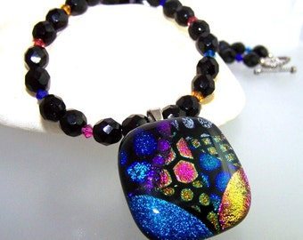 Rainbow of Colors DICHROIC Necklace- Pendant-Focal- Fused Glass Blue Fuchsia and Black.