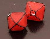 Etched Dark Red Crystals Lampwork Beads Handmade Glass Black Pair Heather Behrendt BHV SRA LETeam