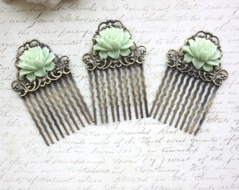 Set of Three (3) Vintage Style Mint Green Small Rose Flower Art Nouveau Antiqued Bronze Small Filigree Hair Comb. Bridesmaids Gifts.