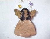 Ethnic Angel Ornament Long Black Hair Coral Peach Dress Brown Stoneware Clay