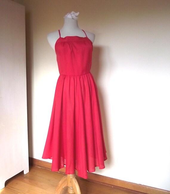 Vintage 80s Jordache Red Summer Dress. Sz XS to  Sz S