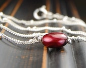 Coin pearl necklace, red necklace, sterling silver, everyday necklace, cranberry red, minimalist jewelry - Cranberry