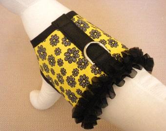 Yellow Flower Ruffle Dog Harness Vest