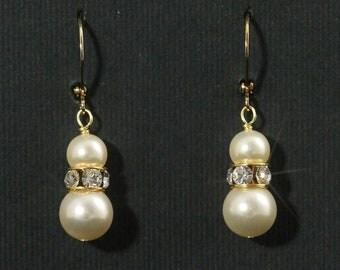 Pearl Drop Earrings, Gold Pearl Jewerly, Rhinestone Pearl Bridal Earrings, Bridesmaid Earrings, Swarovski Crystal Wedding Jewelry-- NATALIE