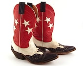 Nocona Cowboy Boots Vintage 1980s Red White and Blue Stars Inlay Inlaid Cutout Women's size 5