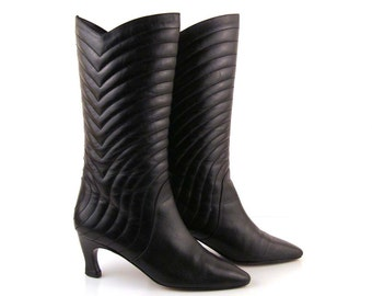 Quilted Leather Boots Vintage 1970s Quilted Black Leather High Heel Boots size 6 1/2