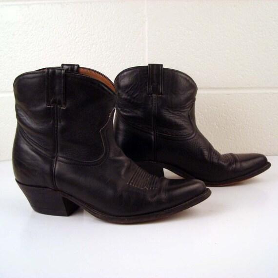 Short Cowboy Boots Vintage 1970s Men's Boulet Short Ankle Black Cowboy Leather Boots 9 2E RR042