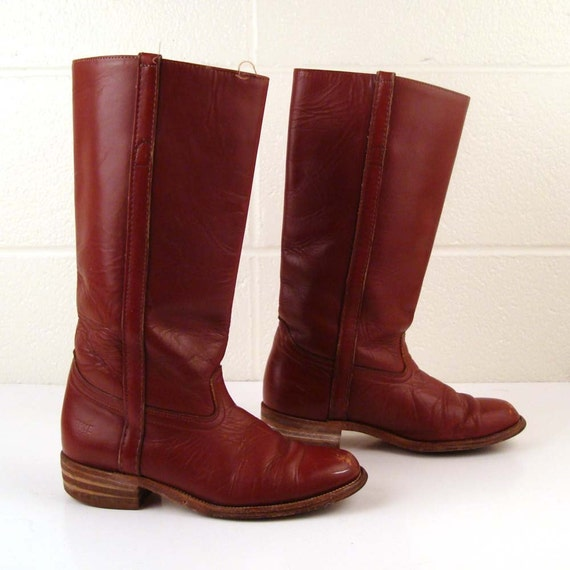 Frye Riding Boots Vintage 1980s Burgundy  Brown Leather Boots Flat Women's size 6