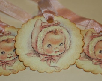 Vintage Baby Girl Shower Gift Tags