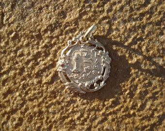 French Antique Sterling Silver Chalice Eucharist Communion Medal Pendant